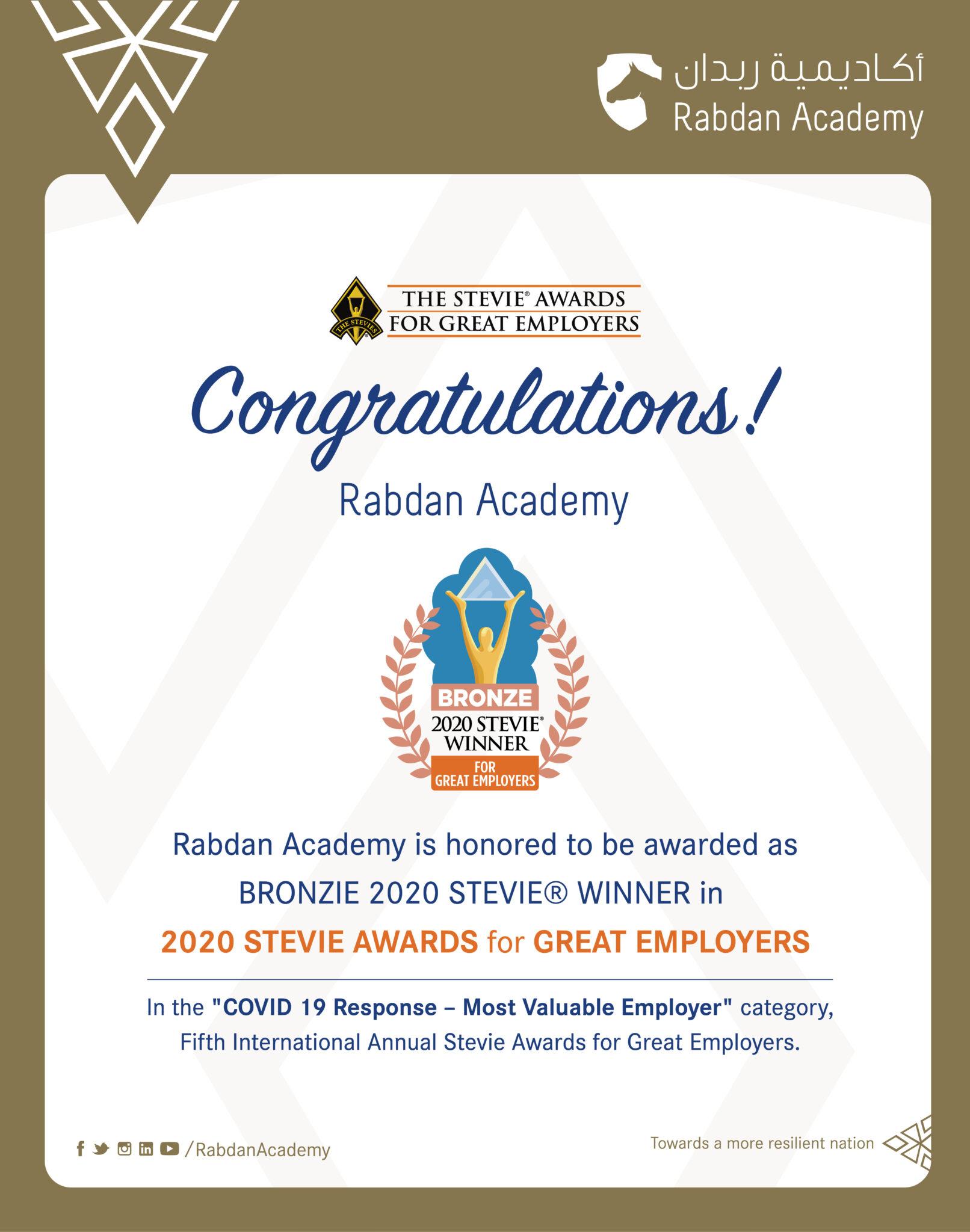 Rabdan Academy Honored As Bronze Stevie® Award Winner In 2020 Stevie Awards For Great Employers