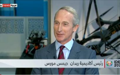 Sky News Arabia hosting Rabdan Academy President Mr. James Morse at IDEX 2021